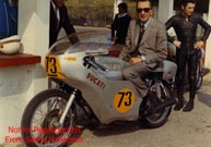Dr. Fabio Taglioni on an early 750 SS racebike he created and built.